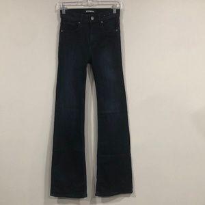 Express Dark Blue Slim Flare High Rise Jeans 0R